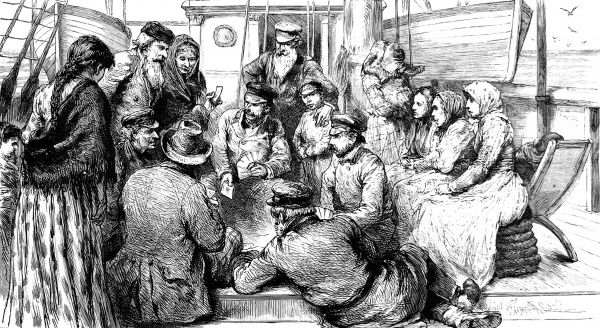 Engraving of a group playing cards on deck. Ladies in headscarves watching. The point behind the drawing is that Jews do not observe Sunday as their sabbath, Christians would not play cards on Sunday