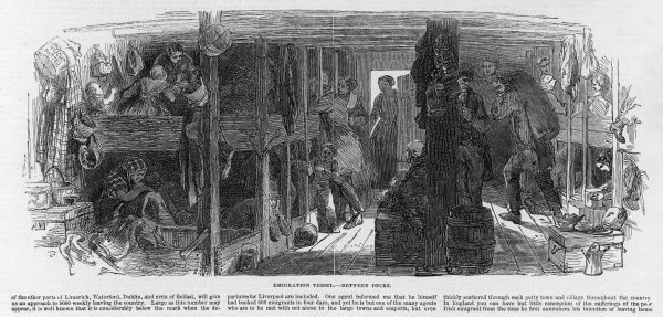 Scene between decks on an emigrant ship showing the crowded and unpleasant conditions