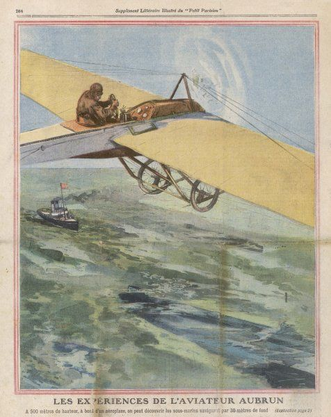 The French aviator Emile Aubrun (1881-1967) at Cherbourg demonstrates that submarines under water can be detected from aircraft flying at a height of 500 metres