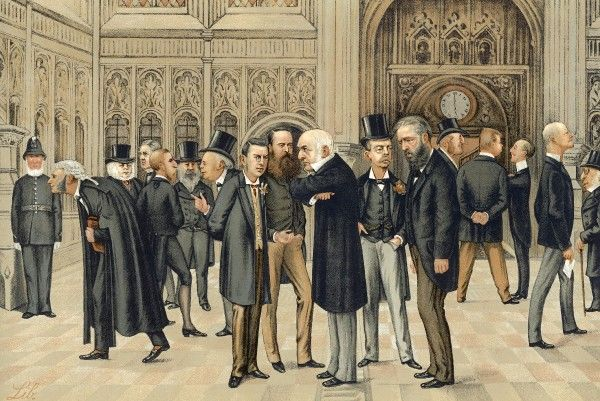 Eminent politicians including Gladstone, Randolph Churchill and Charles Stewart Parnell gather in the Commons Lobby