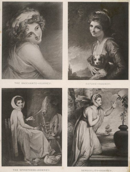EMMA, LADY HAMILTON Wife of Lord Hamilton, mistress of Lord Nelson, in four poses: The Bacchante, Nature, The Spinstress, and Sensibility
