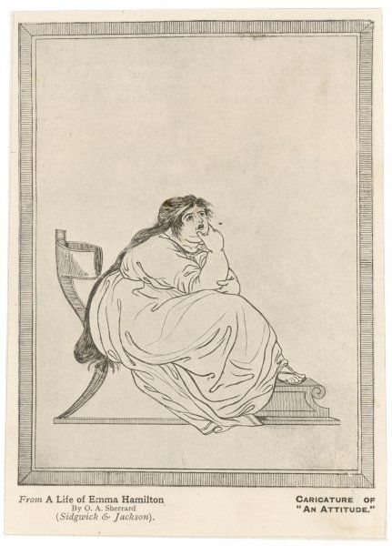EMMA, LADY HAMILTON Wife of Lord Hamilton, mistress of Lord Nelson, in an unkind depiction, parodying one of her 'attitudes&#39
