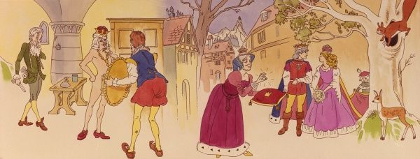 Illustrations of two well-known Fairy Tales: 'The Emperor's New Clothes' (left) and 'The Princess and the Pea' (right)