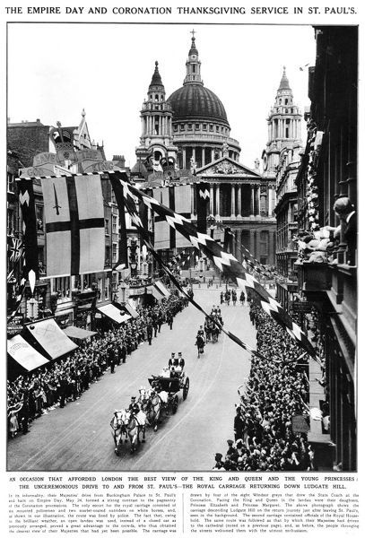 The royal carriage returning unceremoniously from St Paul's Cathedral following the Empire Day and Coronation thanksgiving service, as attending by King George VI, his wife(later the Queen Mother) and two daughters. 24th May 1937