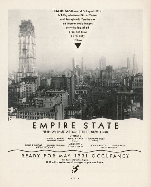 Construction began on March 17th 1930 and the building rose to be the worlds largest office building of the time. Here, office space is being advertised