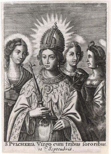 The remarkable PULCHERIA was empress, first with her brother Theodosius II, then with Marcian. She remained a virgin and became a saint for her good works and her faith