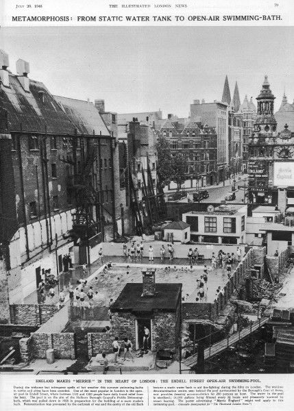 A view of the open air swimming pool in Endell Street, Holborn, London, on the site of Holborn Borough Council's Public Swimming bath which was pulled down in 1938 in preparation for the building of a more modern bath