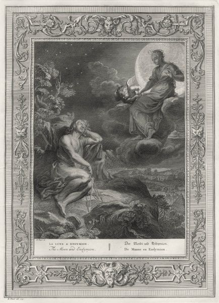 Endymion, beloved by the Moon- goddess Selene, sleeps - eternally young - on Mount Laetmus, where she visits him nightly, eventually bearing him fifty daughters