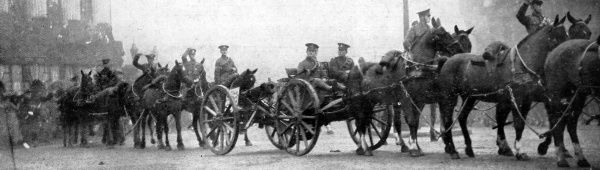 Enemy guns captured at Loos paraded through the streets of London at the Lord Mayors Show in 1915