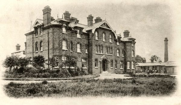 The Isolation Hospital at Winchmore Hill, Enfield, Middlesex. The hospital, opened in 1900 by Enfield Urban District Council, later became known as South Lodge Hospital. It shared a site with the Metropolitan Asylum Board Northern Convalescent Hospital