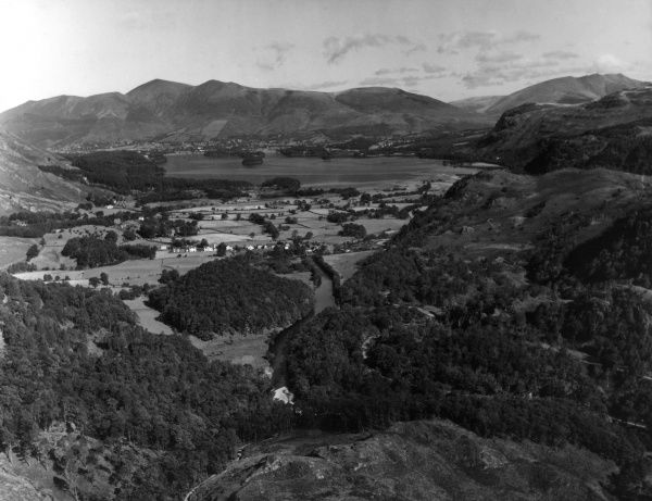 A splendid panorama of Borrowdale, Lake District, England, viewed from Castle Crag. Date: 1950s