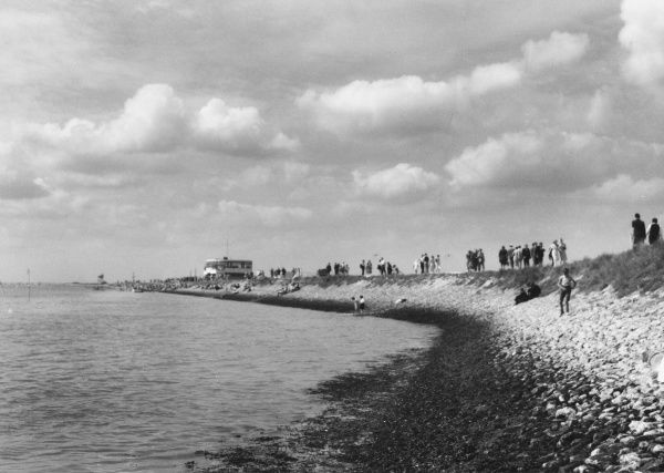 The old sea wall which encircles Canvey Island, Essex, at the mouth of the River Thames. The wall was built about 1623 by the Dutch engineer Cornelius Vermuyder