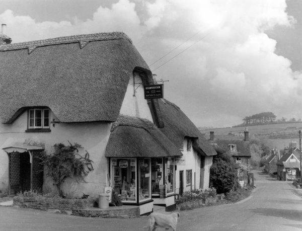 The village of Durweston, Dorset, England, with its lovely thatched village shop. Date: 1950s