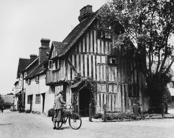Eynsford, Kent, England, showing one of its fine timbered houses near the ford