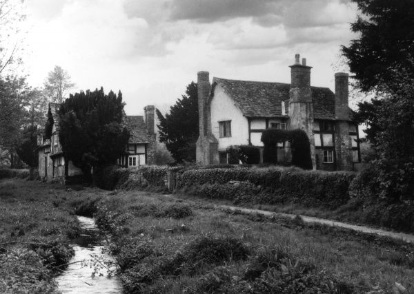 A glimpse of Mansel Lacy, Herefordshire, England. Date: 1950s