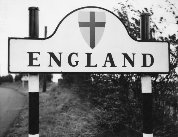 An 'England' signpost on the border with Scotland