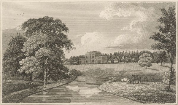 A view of Theobalds, in Hertfordshire, originally built by William Cecil (Lord Burghley) in 1563