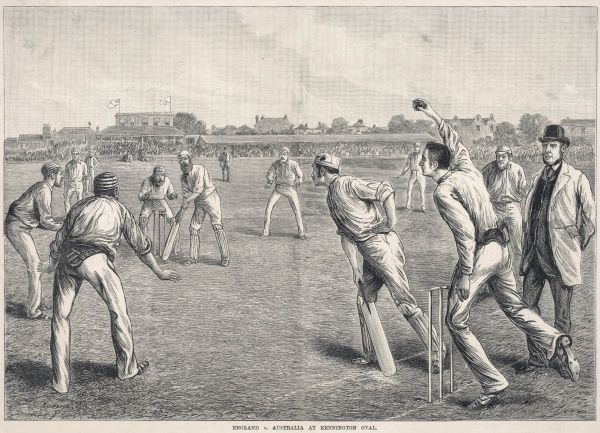 A match between England and Australia at the Kennington Oval, London