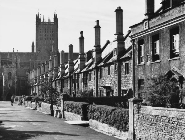 The Vicar's Close, adjacent to the famous Wells Cathedral, Somerset, was originally built to house the clergy. Claims to be the oldest complete street of its kind in Europe