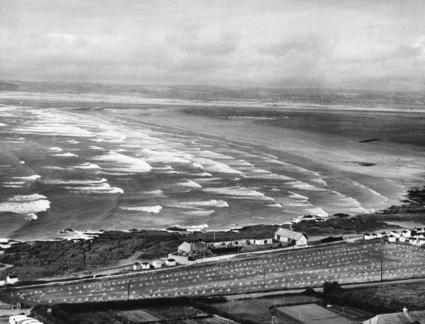 Looking down on Westward Ho, North Devon, famous for its Peeble Ridge and the associations with the novel of the same name, by Charles Kingsley