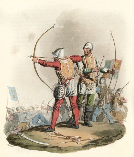 English bowmen of the period of Edward IV : their bows - preferably of yew - were not less unbent than a man's height. A skilled bowman could reach 220 yards/metres. Date: 1482