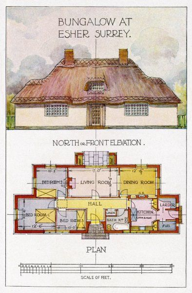 Design for a bungalow at Esher, Surrey, showing the north or front elevation and plan