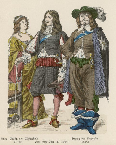 Duke of Newcastle: breeches trimmed with ribbon loops, bucket-top boots & cloak. Charles II: petticoat breeches. Countess of Chesterfield: decollete gown