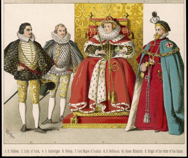 Nobleman & Knight of the Order of the Garter at the court of Queen Elizabeth I. N.B trunk- hose, canions, peascod-bellied doublets, ruffs, cloaks, copotain hat, gowns, flat cap