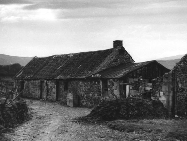 Farm buildings at Ingram, Northumberland, England, a lonely hamlet in the Cheviots. Date: 1930s
