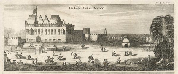 The English fort at Bombay in the 17th century - the interior courtyard