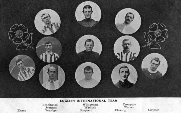 Portraits of the English International Football Team -- Evans, Pennington, Sturgess, Woodger, Williamson, Wedlock, Shepherd, Crompton, Warren, Fleming and Simpson. They played the Irish team on 11 February 1911 and won 2 to 1. Date: circa 1911