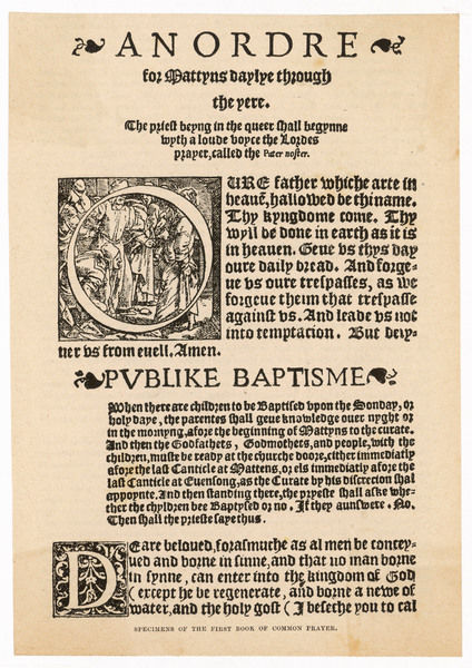 THE BOOK OF COMMON PRAYER 'An Ordre for Mattyns' - a page from the first book of Common Prayer in English, published under Edward VI