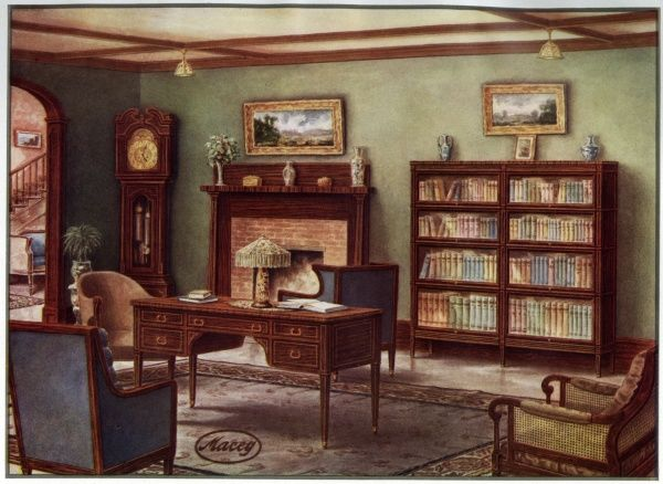 A study with bookcase and grandfather clock. Date: 1911