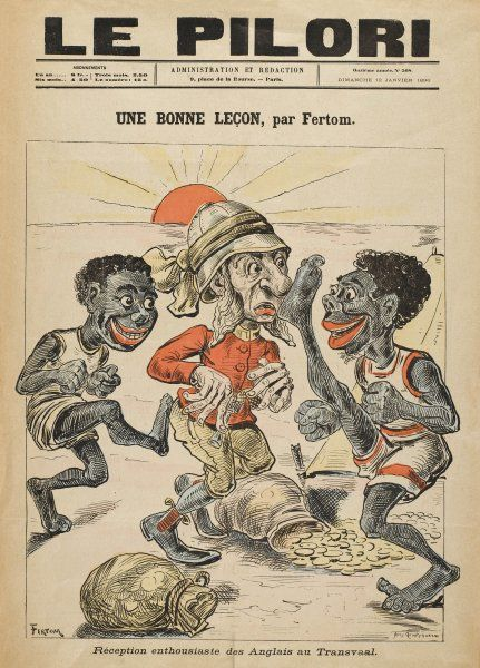 'UNE BONNE LECON' The English soldier is taught 'a good lesson' by the natives of the Transvaal, when he tries to make off with bags of ill-gotten African gold
