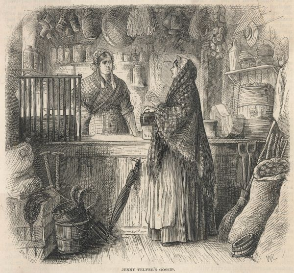 A lady gossips to the shopkeeper in an English village store