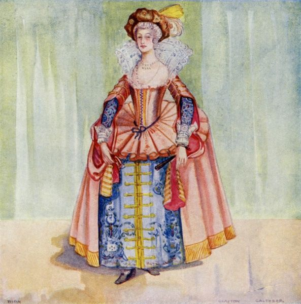 Her farthingale holds the panels of her gown to her sides, revealing her under- skirt far more than did the cutaway styles of yesterday ; high ruffs are now in fashion