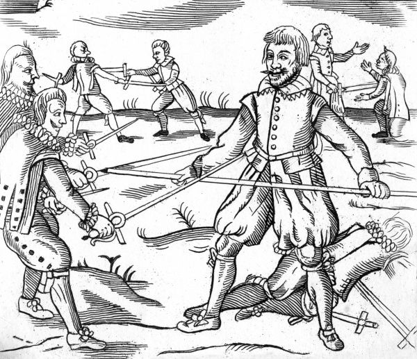 Three Spaniards outnumbered by an Englishmen in combat. While they draw their swords, the Englishmen responds with his quarterstaff. Date: 17th Century