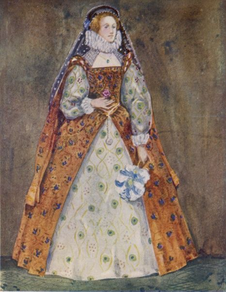 The Elizabethan lady had a big choice what to wear - this wide rich gown and undergown set are utterly different from the 'farthingale' look chosen by the more style-conscious