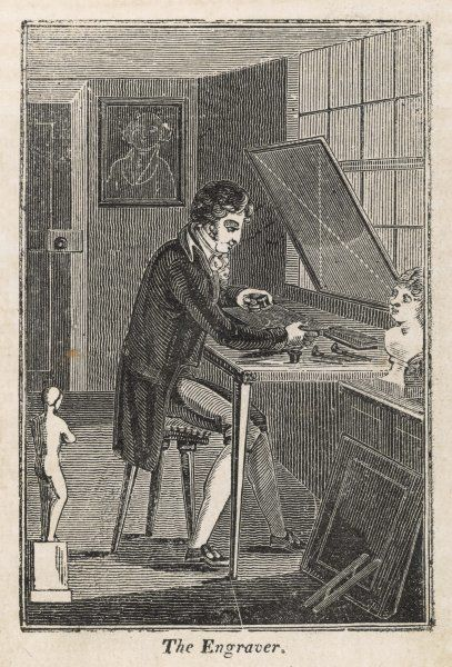 An engraver at work in his studio