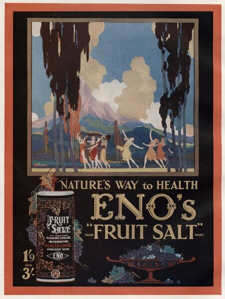 An advertisement for Eno's Fruit Salt (used as an antacid and reliever of bloatedness), showing 7 women dancing through a picturesque scene oveshadowed by a mountain in the background