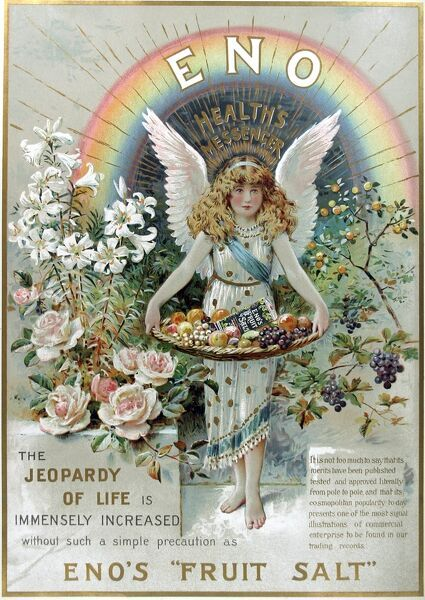 Full page colour advertisement fo Enos fruit salts, a popular remedy for digestive problems throughout the 19th century