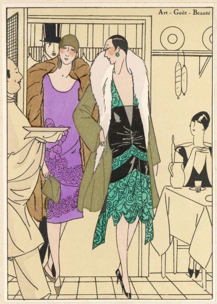 A guest looks up as two ladies enter a restaurant with their escort, assessing their robes du soir by Worth and Douillet