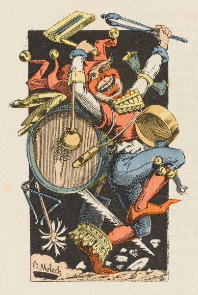 The personification of entertainment - a one-man band, dressed as a jester with cap and bells