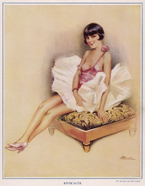 Young ballet dancer or flapper girl posing on a stool