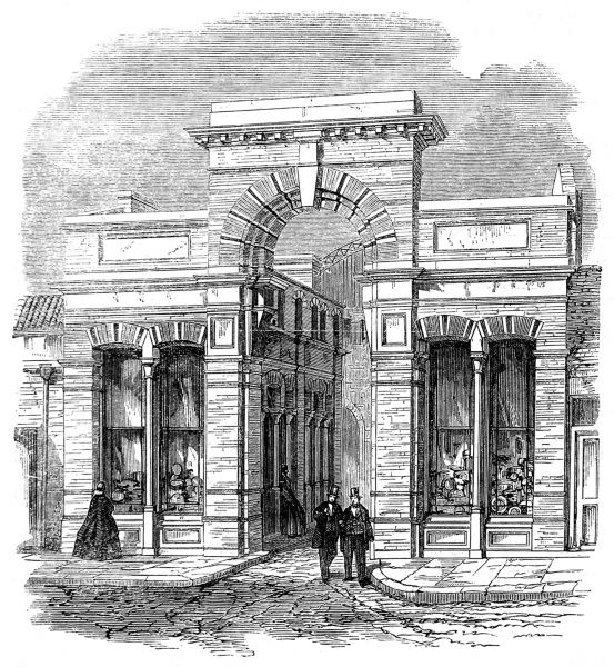 Engraving showing the High Street entrance to the Agricultural Hall, Islington, London, 1862