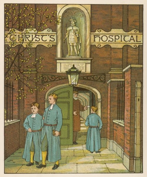Pupils stand outside the entrance to Christ's Hospital School