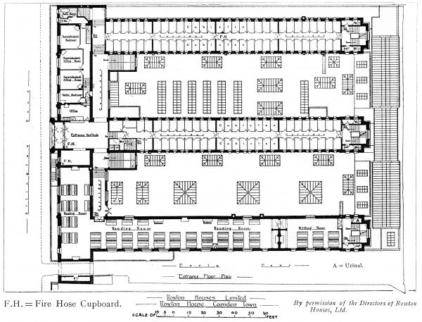 The entrance floor plan of the Rowton House opened in 1905 on Arlington Road, Camden, north west London, to provide cheap accommodation for working men. As well as the entrance itself, the floor contained dormitory cubicles and reading rooms