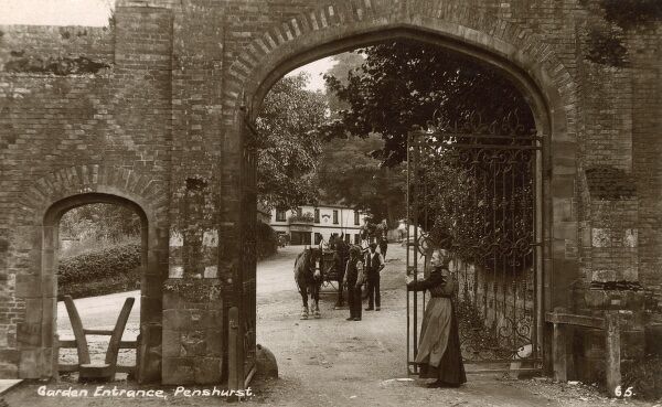 The Entrance to the Gardens at Penshurst Place, Kent - The Leicester Arms pub can be seen in the background. Date: circa 1917