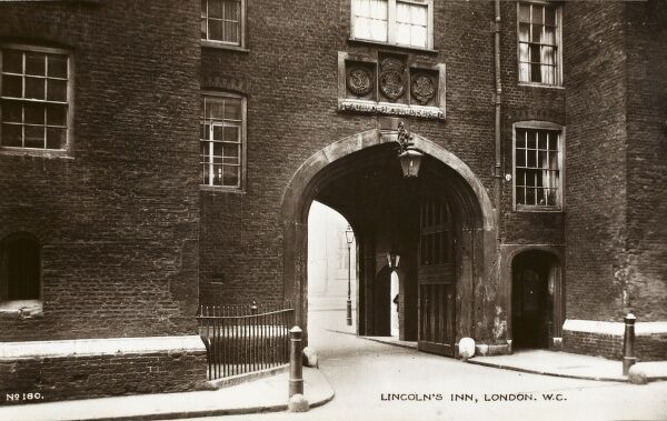 The entrance to Lincoln's Inn off Chancery Lane, London
