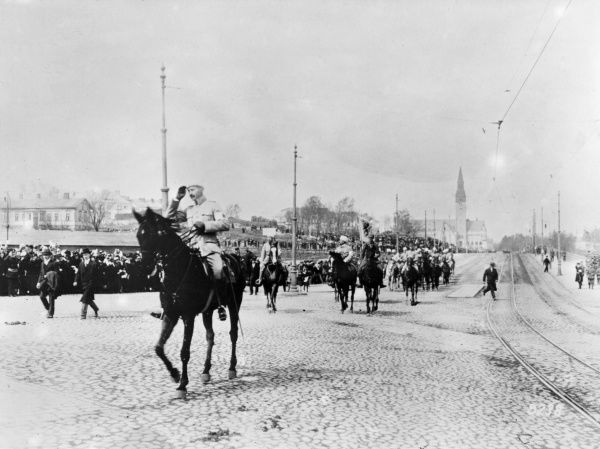 Entry of General Carl Gustaf Emil Mannerheim (1867-1951) into Helsinki (Helsingfors), Finland, after the Finnish Civil War